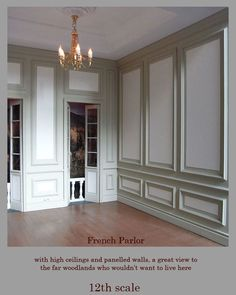 LOVE the wood trim, ceiling in this french style room.   Perfect for a dining room!