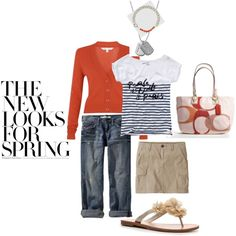 Spring..cargo mini skirt or old navy weekend jeans, popular flower sandals by GUESS, Coach bag, and Michael Kors dog tag necklace