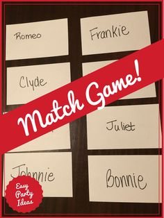"""The Match Game is a perfect ice breaker at any party and is one of the few games that works well when you have a larger crowd. Guests must interview others around the room until they find their """"other half"""" or """"match. Teenage Party Games, Party Games Group, Office Party Games, Adult Party Games, Fun Baby Shower Games, Adult Games, Relay Games For Kids, Fun Icebreaker Games, Games For Teens"""