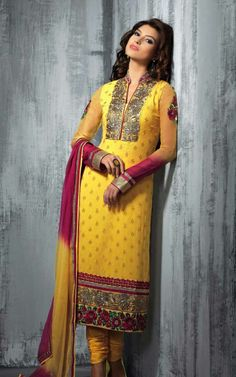 YELLOW & PINK GEORGETTE EMBROIDRED SALWAR KAMEEZ - SLF 9662