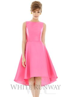 Imogen Dress by Alfred Sung. A stunning cocktail length dress by Alfred Sung. A high neck style featuring a scoop back and hi-low circle skirt.
