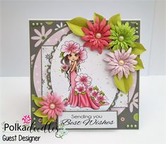 6 x 6 card made using Polkadoodles 'Primrose', The Darling Buds digi image.  Polkadoodles 'Lemonade Fizz' digi kit papers and flowers.