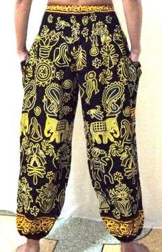 women or men wear.  VTG HIPPIE BOHO oriental harem gypsy yoga belly dance art thai fisherman pants