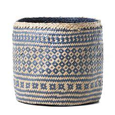 Aztec Round Basket Blue