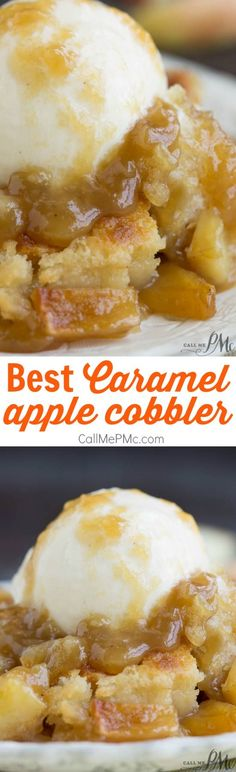 Best Caramel Apple Cobbler is a sweet taste of fall baked into a dessert. This recipe is comfort food at it's best. Tart apples, sweet caramel, and warm cinnamon combined with a buttery crust is the quintessential recipe to make during the fall months.