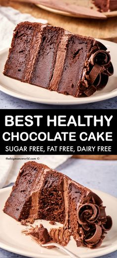 This healthy chocolate cake recipe is completely sugar free, fat free and less than 100 calories per slice! Moist and fluffy, this eggless and dairy free chocolate cake is made in one bowl! Best Eggless Chocolate Cake Recipe, Dairy Free Chocolate Cake, Healthy Chocolate, Chocolate Desserts, Gf Recipes, Diabetic Recipes, Baking Recipes, Cake Recipes, Sugar Free Desserts