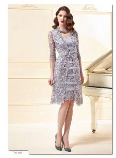 Longueur au genou 2016 mère de la mariée robes gaine Scoop avec veste dentelle courtes robes de soirée mère robes pour le mariage