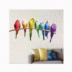 Rainbow Budgies poszter – Wallpower Wonders - ID Design Kiegészítők - Tapéták, matricák