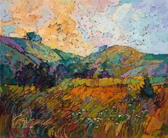Trails of Gold - Contemporary Impressionism   Landscape Oil Paintings for Sale by Erin Hanson