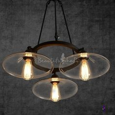 Burst Disc Glass Shaded Umbrella Pendant with 3 Lights