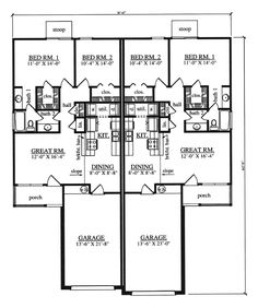 Traditional Multi-Family Plan 75050 with 4 Beds, 2 Baths, 2 Car Garage Level One Traditional House Plans, Traditional Design, Duplex Floor Plans, Rm 1, Electrical Plan, Duplex House Design, Multi Family Homes, Apartment Plans, New Home Designs