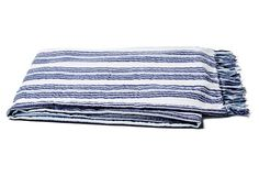 "Bali Stripe Beach Blanket, Navy, 84""L x 70""w, cotton, $49"