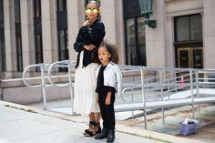 Sai De Silva and London Scout, her daughter, between fashion shows.