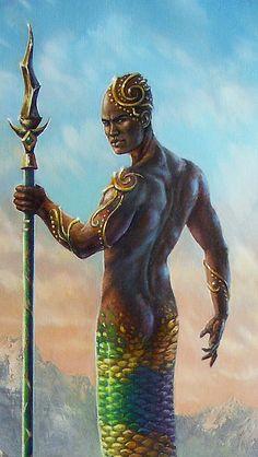 warrior Mermaids | ... Art Print African Ethinic Temple Snake Naga Merman Mermaid Warrior