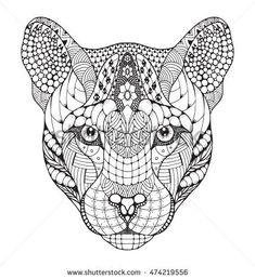 Cougar, mountain lion, puma, panther head zentangle stylized, vector, illustration, pattern, freehand pencil, hand drawn. Zen art.