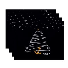 E by Design 18 x 14 inch Holiday Anchor Print Placemat