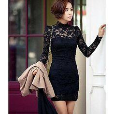 Women's Stand Collar Lace Embroidery Bodycon Mini Dress – USD $ 17.54