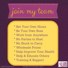 Looking for ambitious people who want to get healthy and help others do the same. Join my team and I will reimburse your join fee when you order a welcome pack(must not currently be working with another Plexus Ambassador).   Www.plexusslim.com/letsalldrinkpink