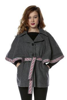 Capa gri din lana cu broderie traditionala CA11 -  Ama Fashion Coat, Jackets, Fashion, Moda, Fashion Styles, Peacoats, Coats, Fashion Illustrations, Jacket
