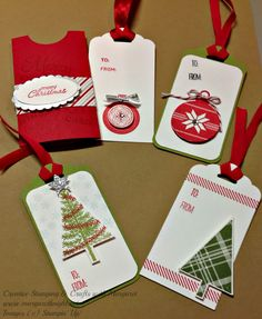 Christmas Tags using Stampin' Up! Lots of Joy & Festival of Trees Stamps sets, and Scalloped Tag Topper Punch