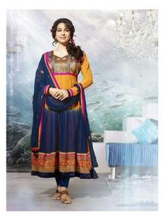 SV-KA0180 at JUST @ $74 Buy at http://www.shopvhop.com/product/pale-yellow-navy-bluish-juhi-chawala-designer-collection-16002/