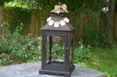 Lantern wedding card holder rustic wedding by SgtPeppersHeartsClub, $115.00