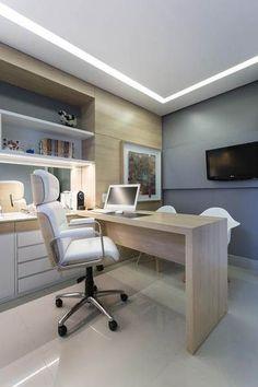 Modelos de Escritório Home-Office 2019 – Executive Home Office Design Office Cabin Design, Small Office Design, Dental Office Design, Office Furniture Design, Office Designs, Doctors Office Decor, Medical Office Decor, Doctor Office, Cl Design