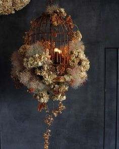 bird cage The bird cage is equally a home for your chickens and a cosmetic tool. You can choose whatever you need one of the bird cage versions and get a whole lot more specific images. Deco Floral, Arte Floral, Flower Shop Design, Floral Design, Flower Installation, Floral Chandelier, Dark Interiors, Floral Photography, Bird Cages
