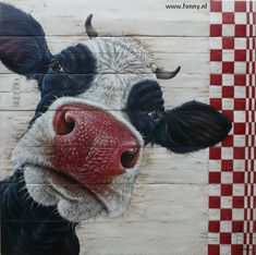 www. Chicken Painting, Cow Painting, Pallet Painting, Pallet Art, Cartoon Cow Face, Cow Pictures, Cow Art, Animal Paintings, Painting Inspiration