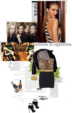 """""""eyeliner & cigarettes"""" by aanyaa ❤ liked on Polyvore"""