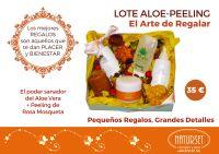LOTE ALOE-PEELING  El Poder Sanador del Aloe Vera más Peeling de Rosa Mosqueta.  El Arte de Regalar.