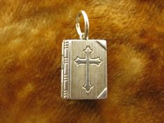 Vintage Sterling Silver Charm Holy Bible Opens To Lord's Prayer