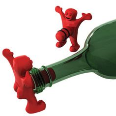 Happy man bottle stopper for wine.  Here you go winos