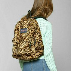 Merchandising at WSS with JanSport!:) leopard plush backpack w red ...