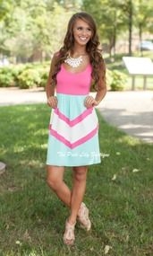 A Perfect Harmony Mini Dress Pink And Mint