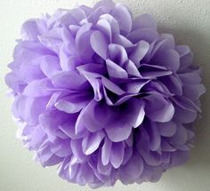 Lavender ... 1 tissue paper pom // wedding decorations // diy // paper flowers // baby shower // pastel purple // birthday party