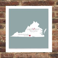 VIRGINIA Art State Print Personalized Anniversary Gift  State of Love FRAMED - Conversation Heart Art- Great Engagement or Wedding Gift. $44.00, via Etsy.