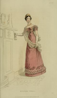 March 1823 evening dress. Not sold on the flowers, but I like the overall appearance of her dress and her tiara!