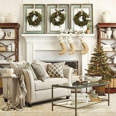 Shop for the Kensington Living Room Furniture Collection from Ballard Designs. Our living room furniture is crafted for today more casual lifestyles. French Christmas Decor, Christmas Mantels, Christmas Home, Christmas Decorations, White Christmas, Classy Christmas, Xmas, Christmas Fireplace, Natural Christmas