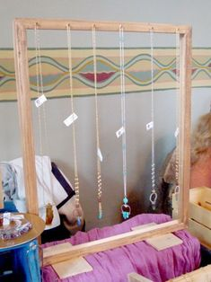 Craft show display. Long necklace display using a frame. Siren Nation 2015. Portland, OR is creative inspiration for us. Get more photo about home decor related with by looking at photos gallery at the bottom of this page. We are want to say thanks if you like to share this … #necklacedisplay