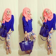 ❤ hijabi. fashion. coral. pink. blue. printed pants. blue bag. spring. dressy casual.