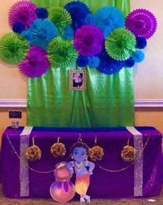 27 ideas baby names indian birthday parties First Birthday Board, Baby Boy Birthday, Indian Birthday Parties, Birthday Party Themes, Birthday Recipes, Birthday Celebration, Birthday Wishes, Happy Birthday Krishna, Janmashtami Decoration