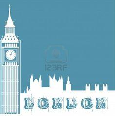 silueta de reloj de la torre sobre fondo azul. ilustraci�n vectorial photo