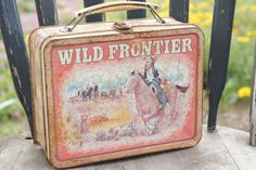 Vintage 70s Wild Frontier Metal Lunch Box Collectable Junk Style by SycamoreVintage on Etsy https://www.etsy.com/listing/226026056/vintage-70s-wild-frontier-metal-lunch