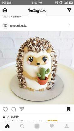 Pretty Cakes, Cute Cakes, Beautiful Cakes, Amazing Cakes, Baby Cakes, Cupcake Cakes, Pink Cakes, Hedgehog Cake, Hedgehog Animal