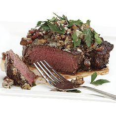 Beef Tenderloin with Roquefort-Pecan Butter by Fine Cooking. These tender steaks, topped with a tangy blue cheese and toasted nut butter, make for a main course that's ready in minutes but feels like you fussed. Wine Recipes, Beef Recipes, Cooking Recipes, Cooking Courses, Cooking Beef, Sausage Recipes, Pasta Recipes, Vegetarian Recipes, Chicken Recipes