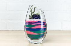 Hand-Cut Angled Glass Layered Sand Art Air Plant Terrarium
