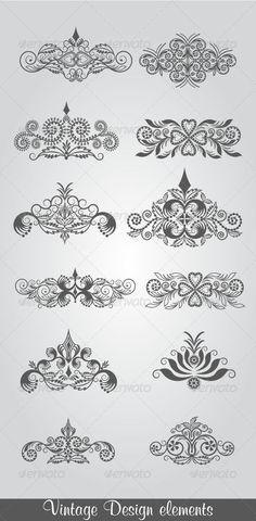 Vintage Design Elements  #GraphicRiver         vector vintage floral design elements on gradient background, fully editable AI & EPS files.