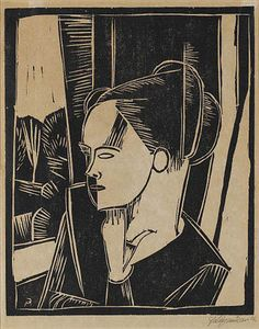 Conrad FELIXMULLER (1897 - 1977)  Mädchen am Fenster 1916 (Girl at the window) Woodcut, on wove paper,