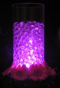 Beautiful Glowing Wedding Table Decorations - LED Light with Vase Crystals. Vase Crystals - 6 grams - each ball will grow to approx in water. Aqua Wedding, Dream Wedding, Galaxy Wedding, Table Centerpieces, Wedding Centerpieces, Vase With Lights, Wedding Reception Decorations, Wedding Ideas, Wedding Function